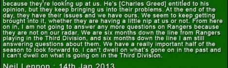 Celtic Diary Monday January 14