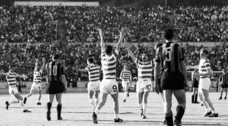 Players of the Scottish football club Celtic throw up their arms in jubilation after Stevie Chalmers, number 9, had scored their second goal in the European Cup Final match against Inter-Milan, in Lisbon, Portugal, May 25, 1967. Celtic defeated Inter 2-1. (AP Photo)