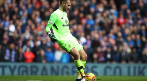 GLASGOW, SCOTLAND - MARCH 11:  Scott Bain of Celtic controls the ball during the Rangers v Celtic Ladbrokes Scottish Premiership match at Ibrox Stadium on March 11, 2018 in Glasgow, Scotland. (Photo by Ian MacNicol/Getty Images)